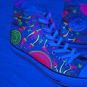 """Обувь ручной работы. Ярмарка Мастеров - ручная работа Кеды """"Trance"""" с грибами кеды Конверс Converse с росписью.. Handmade."""