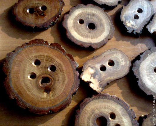 Другие виды рукоделия ручной работы. Ярмарка Мастеров - ручная работа. Купить Пуговицы деревянные. Handmade. Рыжий, дубовые спилы