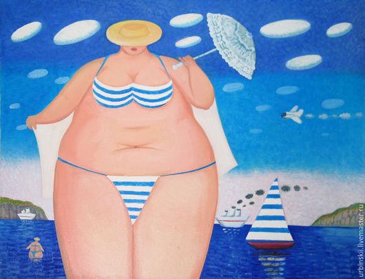 Юмор ручной работы. Ярмарка Мастеров - ручная работа. Купить Море зовет. Handmade. Синий, отпуск, яхта, облака, голубой
