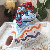 """Посуда ручной работы. Ярмарка Мастеров - ручная работа Керамический чайник """"Хорошее настроение"""". Handmade."""