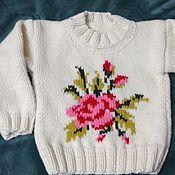 Работы для детей, ручной работы. Ярмарка Мастеров - ручная работа вязанный свитер для девочки. Handmade.