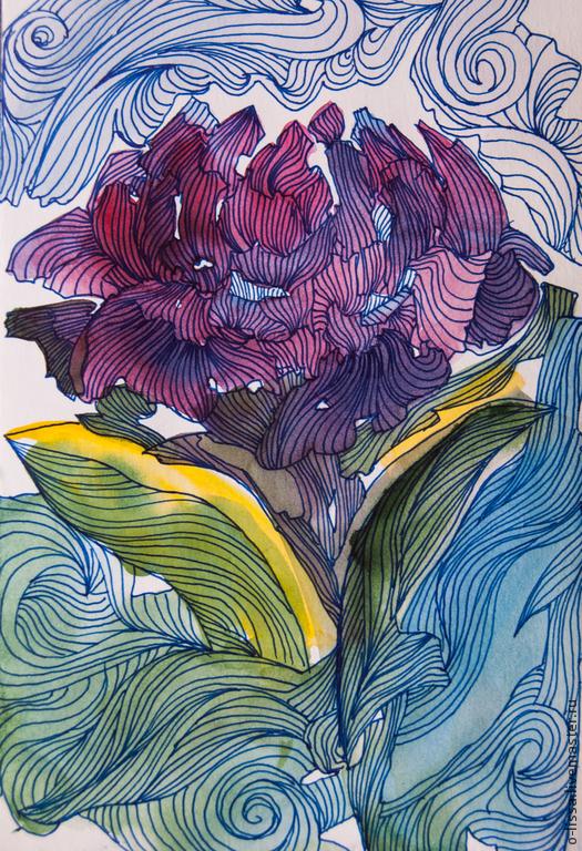 Картины цветов ручной работы. Ярмарка Мастеров - ручная работа. Купить Пион. Handmade. Брусничный, графика, в подарок, волны, декоративный