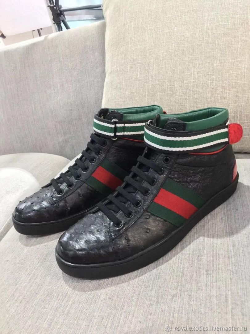 Sneakers are high, made of ostrich leather, in black, Sneakers, Tosno,  Фото №1