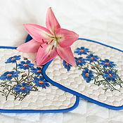 Для дома и интерьера ручной работы. Ярмарка Мастеров - ручная работа Прихватки для горячего Синие цветы. Handmade.