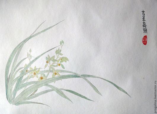 Картины цветов ручной работы. Ярмарка Мастеров - ручная работа. Купить Дикая орхидея. Handmade. Мятный, картина в подарок