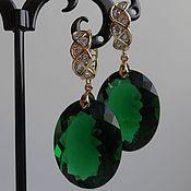 Украшения ручной работы. Ярмарка Мастеров - ручная работа Серьги с ювелирными камнями (зеленые). Handmade.