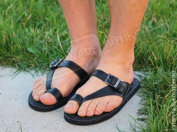 Sandals clogs Mens genuine leather Black, Sandals, Moscow,  Фото №1