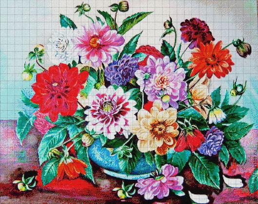"""Вышивка ручной работы. Ярмарка Мастеров - ручная работа. Купить Набор для  вышивания бисером """"Георгины"""" по картине худ. Н. Шайкиной. Handmade."""