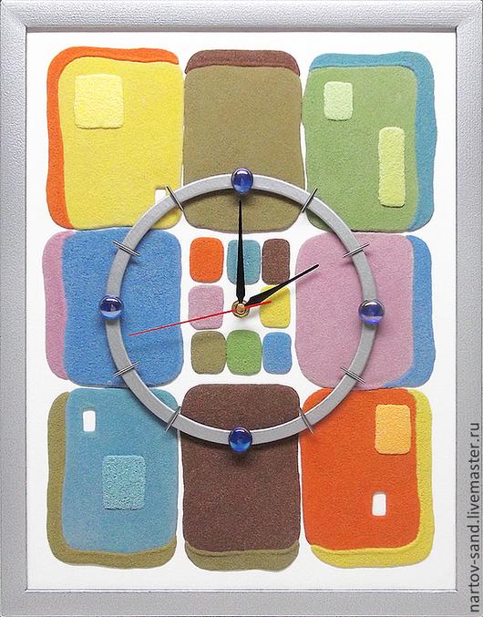 """Часы для дома ручной работы. Ярмарка Мастеров - ручная работа. Купить """"ЛОСКУТКИ""""из песка авторские часы. Handmade. Жизнерадостный, коричневый"""