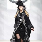 Пальто ручной работы. Ярмарка Мастеров - ручная работа DP_002 Пальто черное с серой оборкой. Handmade.
