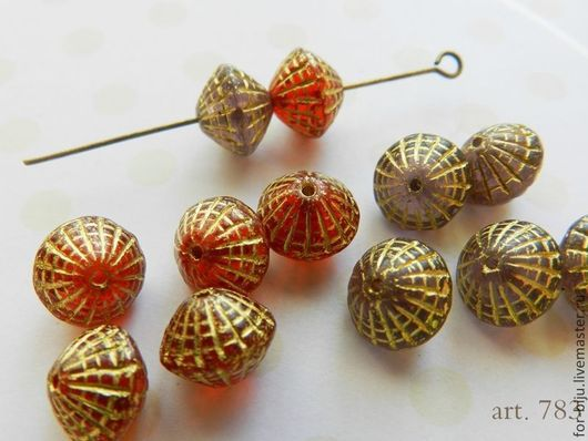 Бусины Чехия рондель, размер 9,5*7,5 мм, отверстие 0,8 мм  (арт. 783)\r\n\r\nарт. 783-1 - цвет бусин лавандовый\r\nарт. 783-2 - цвет бусин красный