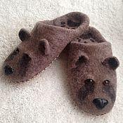 """Обувь ручной работы. Ярмарка Мастеров - ручная работа Валяные тапочки """"Мишки-2"""". Handmade."""