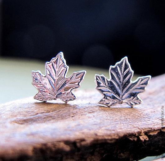 Серёжки Кленовые листочки из серебра