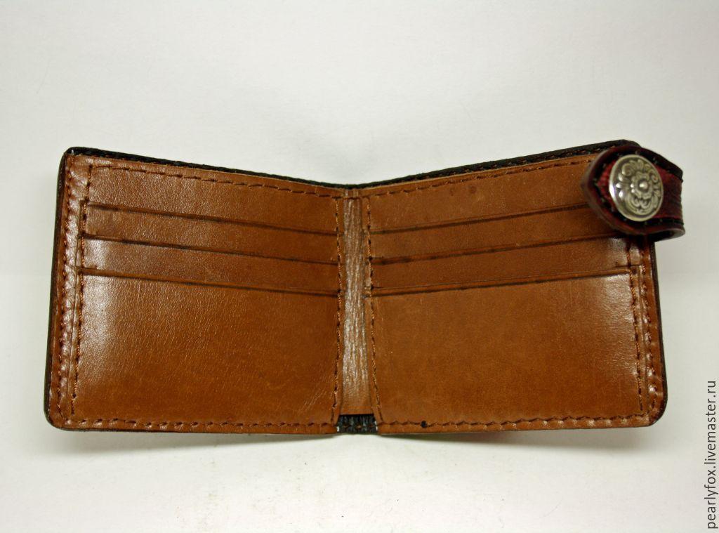 купить кожаный мужской кошелек ручной работы