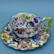 """Посуда ручной работы. Ярмарка Мастеров - ручная работа """"Виоловая клумба.""""Чайная пара.. Handmade."""