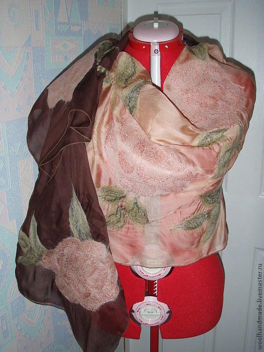 Шали, палантины ручной работы. Ярмарка Мастеров - ручная работа. Купить палантин из шелка Роза цвета пудры. Handmade. Палантин