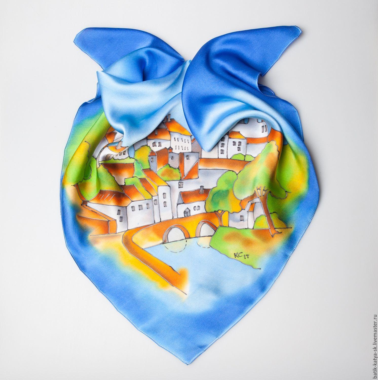 Batik silk scarf 'Journey. French province', Shawls1, Moscow,  Фото №1