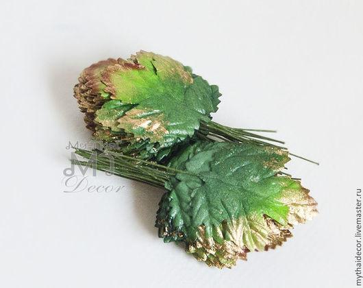 50 шт зеленые листья с золотом My Thai Decor. Материалы для декора из Таиланда