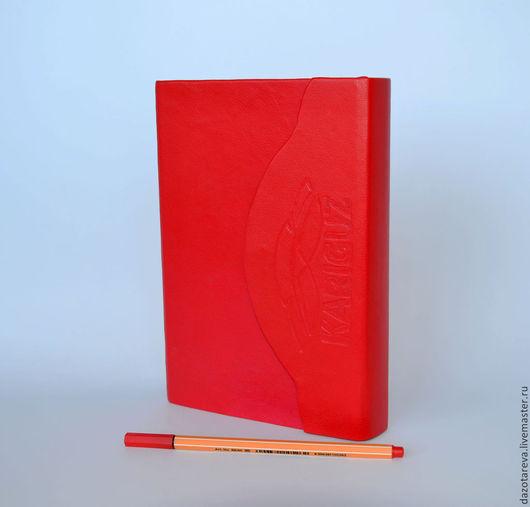 """Блокноты ручной работы. Ярмарка Мастеров - ручная работа. Купить Именной кожаный блокнот """"Lady in red"""". Handmade. Ежедневник"""