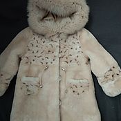 Работы для детей, handmade. Livemaster - original item Children`s fur coat with a hood made of natural muton fur. Handmade.