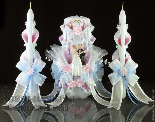 Резные свадебные  свечи ручной работы Луиза.