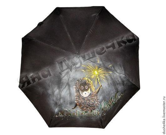 """Зонты ручной работы. Ярмарка Мастеров - ручная работа. Купить Зонт с росписью """"Ежик в тумане и светлячок"""". Handmade. Черный"""