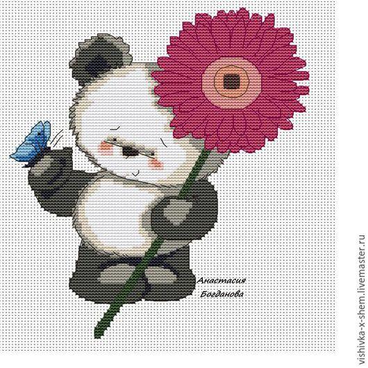 Дизайн интерьеров ручной работы. Ярмарка Мастеров - ручная работа. Купить Авторская схема для вышивки крестиком Панда Цветочек. Handmade.