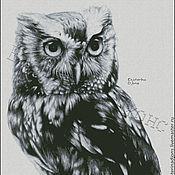 Схемы для вышивки ручной работы. Ярмарка Мастеров - ручная работа Мудрая сова. Авторская схема для вышивки крестом. Handmade.