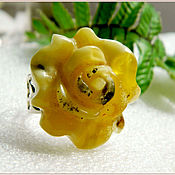 """Украшения ручной работы. Ярмарка Мастеров - ручная работа Кольцо """"Роза-мимоза""""  янтарь посеребрение Amber. Handmade."""