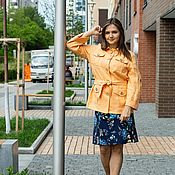 Одежда handmade. Livemaster - original item Safari jacket linen apricot color. Handmade.
