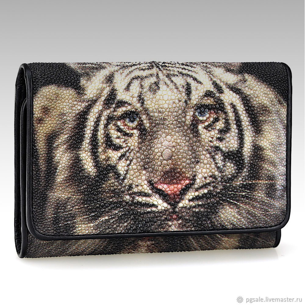 Wallets & Business Card Holders handmade. Livemaster - handmade. Buy Small wallet made of Stingray leather with tiger print.