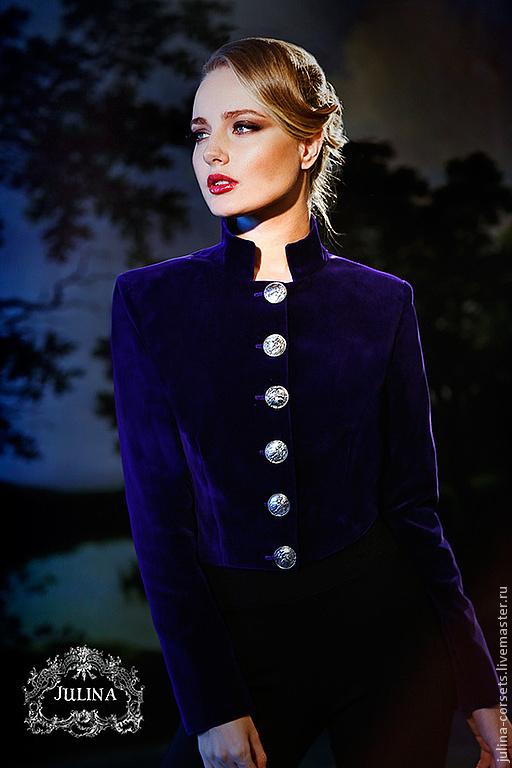"""Пиджаки, жакеты ручной работы. Ярмарка Мастеров - ручная работа. Купить Жакет фиолетовый """"Генералы любви"""" милитари. Handmade. милитари"""
