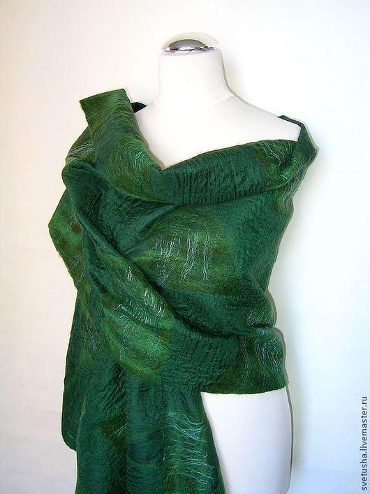 """Шали, палантины ручной работы. Ярмарка Мастеров - ручная работа. Купить Палантин валяный """"Лесная тайна"""" войлочный мериносовый шелковый шарф. Handmade."""