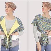 Одежда handmade. Livemaster - original item Vest with fur pockets color print cucumbers. Handmade.
