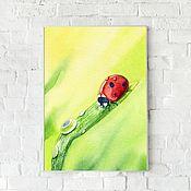 Картины и панно handmade. Livemaster - original item Watercolor ladybug. Handmade.