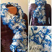 Аксессуары ручной работы. Ярмарка Мастеров - ручная работа Воздушный шарфик белый/темноголубой. Handmade.
