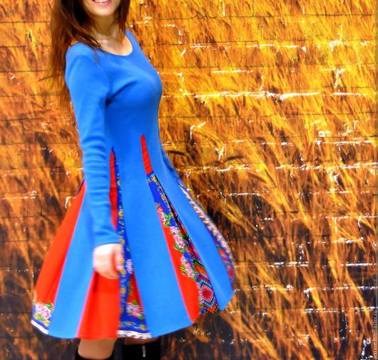 """Платья ручной работы. Ярмарка Мастеров - ручная работа. Купить Платье """"Распускающийся цветок"""". Handmade. Синий, свободный силуэт, fashion"""