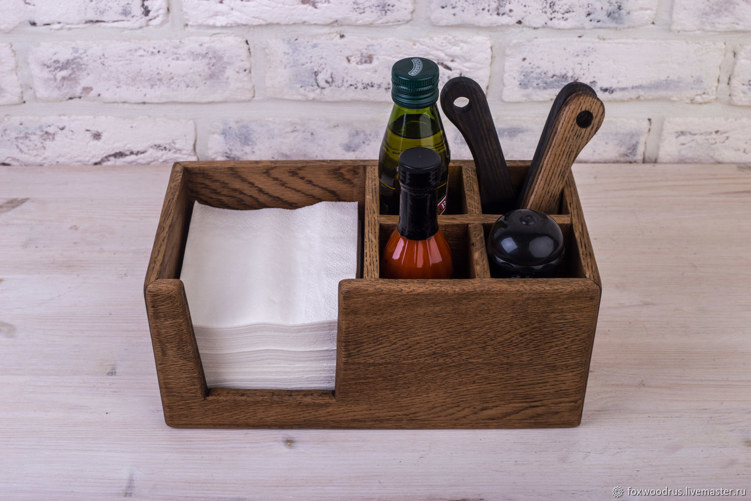 Napkin holder made from oak with branches under salt and spices, Napkin holders, Moscow,  Фото №1