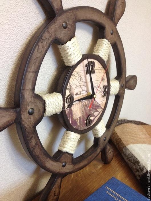 """Часы для дома ручной работы. Ярмарка Мастеров - ручная работа. Купить Часы настенные """"Штурвал"""". Handmade. Коричневый, морская тема"""