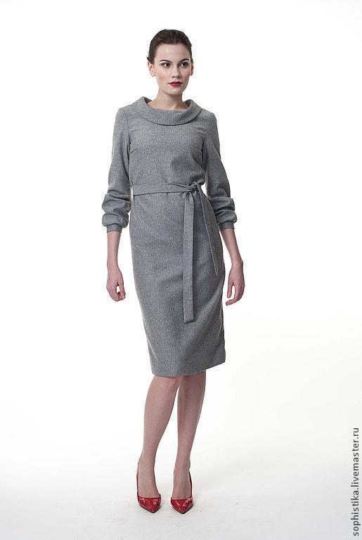 Платья ручной работы. Ярмарка Мастеров - ручная работа. Купить платье с воротником хомутом FW13-06. Handmade. Серый