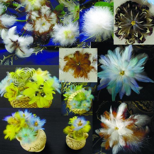 Броши ручной работы. Ярмарка Мастеров - ручная работа. Купить работы из перьев. Handmade. Комбинированный, броши цветы, цветы из перьев
