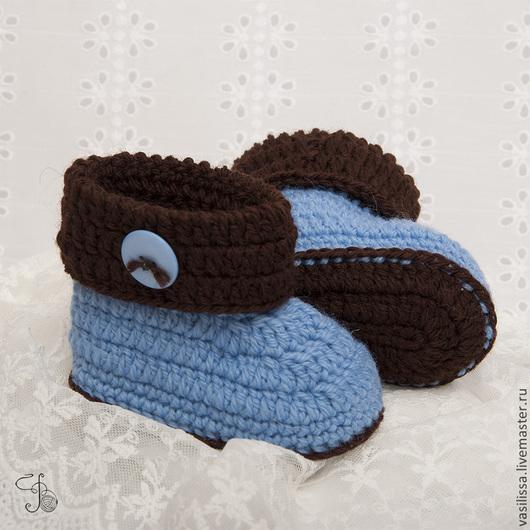 Для новорожденных, ручной работы. Ярмарка Мастеров - ручная работа. Купить Пинетки с пуговкой голубые. Handmade. Пинетки, пинетки для мальчика