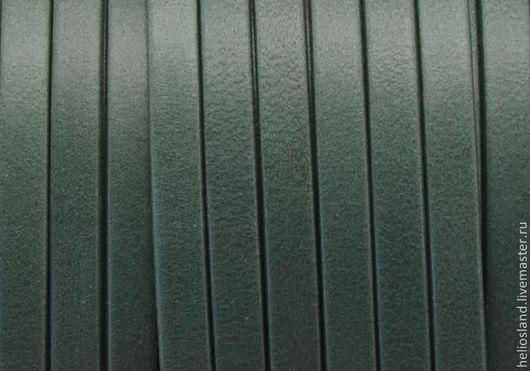 Для украшений ручной работы. Ярмарка Мастеров - ручная работа. Купить Кожаный шнур плоский 5 мм Denver, бутылочное стекло. Handmade.