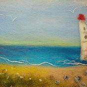 """Картины и панно ручной работы. Ярмарка Мастеров - ручная работа """"Маяк на восходе"""" 3-D шерстяная картина. Handmade."""