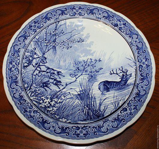 """Винтажные предметы интерьера. Ярмарка Мастеров - ручная работа. Купить Настенная тарелка, ручная работа,""""Охота на оленя"""" Delfts Boch. Handmade."""