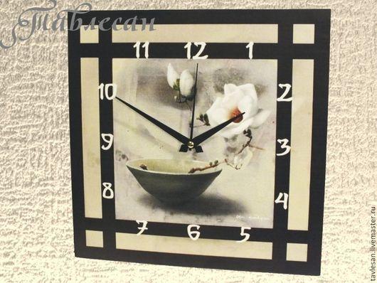 """Часы для дома ручной работы. Ярмарка Мастеров - ручная работа. Купить Часы настенные """"Камелия"""" в японском стиле. Handmade."""