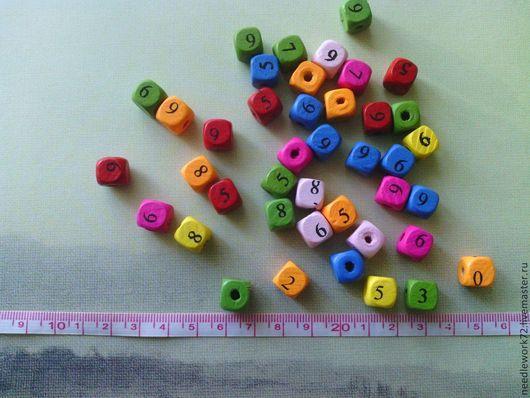 """Для украшений ручной работы. Ярмарка Мастеров - ручная работа. Купить Деревянные бусины """"Цифры"""". Handmade. Разноцветный, бусины"""