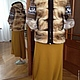 """Верхняя одежда ручной работы. Ярмарка Мастеров - ручная работа. Купить меховая куртка с вязаными рукавами """"Олени"""". Handmade. Разноцветный"""