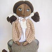 Винтажная кукла с собачкой - текстильная кукла для интерьера