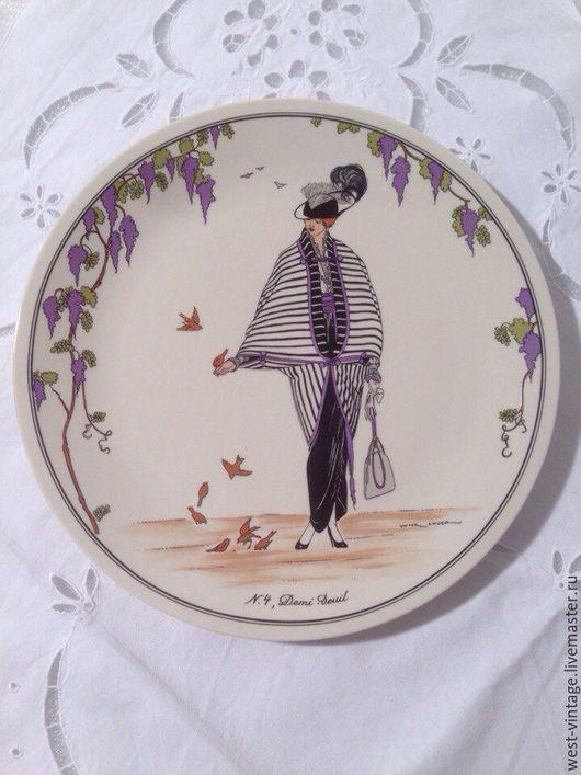 """Винтажная посуда. Ярмарка Мастеров - ручная работа. Купить Коллекционная тарелка """"Мода прошлых лет"""", Villeroy&Boch.. Handmade. Белый"""